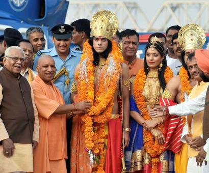1.75 lakh diyas, Ram-Sita in chopper: Yogi celebrates grand Diwali in Ayodhya