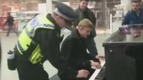 Train station piano player video goes viral as British Transport Police join in the jam