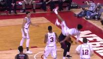 Nebraska player carted off after scary fall
