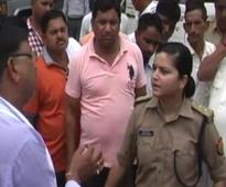 Woman cop in UP takes on angry BJP workers