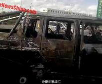 Mansory tuned Mercedes-Benz G63 AMG 6X6 crashes into Hyundai; goes up in flames in China