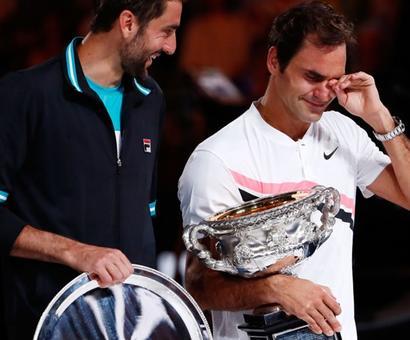 Weeping Federer hails 20th Grand Slam title