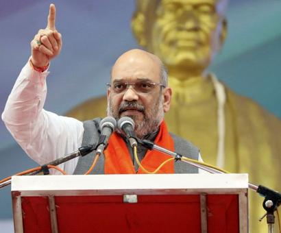 Shah sounds Guj poll bugle from Sardar Patel's native place, attacks Rahul