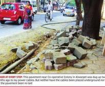 In Alwarpet, dug-up road poses hazard for residents
