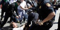 Scramble by Trump protesters