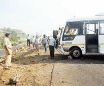 Four killed as bus hits two bikes along... Four killed as bus hits two bikes along Pune-Bangalore highway