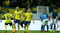 Italy in danger of not qualifying for the first time in 60 years after loss to Sweden in World Cup play-off first leg