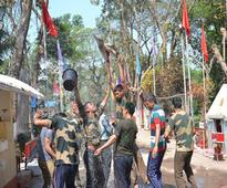 India-Bangladesh border guards celebrate Holi together