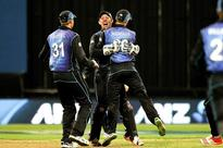 Toe catch gives New Zealand series over Austra... (L-R) Martin Guptill, Luke Ronchi and Henry Nicholls of New Zealand celebrat...