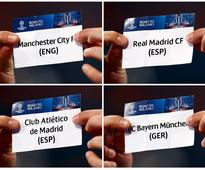 Madrid gets City, Atletico faces Bayern in Cha... A combination of pictures shows Final Ambassador Dejan Stankovic holding the...