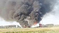 Semi catches fire on highway near Carberry