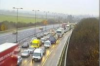 Crash closes two lanes of the M1 near Derby