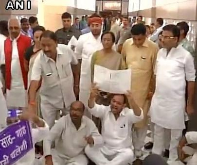 Pandemonium in UP assembly, opposition MLAs marshalled out