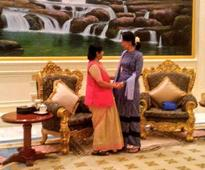 Sushma in Myanmar; holds talks with Suu Kyi