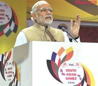 Narendra Modi at the inaugural ceremony of the 12th South Asian Games-2016