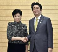 Koike tells Abe of resolve for reform