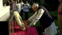 PM Modi pays tribute to martyrs column at Vallabhbhai Patel Police Academy in Hyderabad