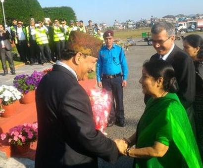 Swaraj in Nepal for SAARC meet; likely to meet Pak counterpart on Thursday