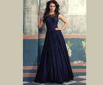 Embroidered Georgette Shimmer Gown In Navy Blue