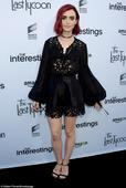 Lily Collins is lovely in lacy black shorts and blouse at Sony party in Culver City