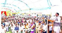Transport minister Bhupendra Singh address people during a felicitation function at his house at Khurai