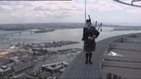 Bagpiper takes to the skies despite being afraid of heights