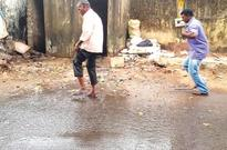 Overflowing sewerage chamber  lies unattended at Mangor Hill