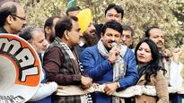 BJP chief Tiwari's Dwarka-Rajokri roadshow enthrals residents