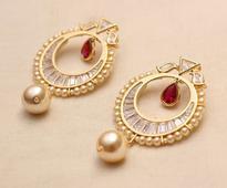Austrian Diamond Earring in Dark Pink N White