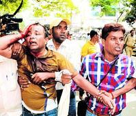Baton charge near Raj Bhavan