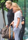 Zlatan Ibrahimovic's partner Helena Sager looks sour faced as she moves hotels in Manchester just hours after arriving
