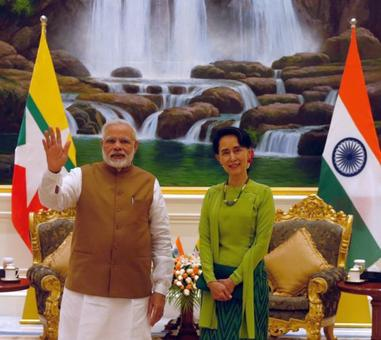 PM Modi presents Suu Kyi copy of her research proposal