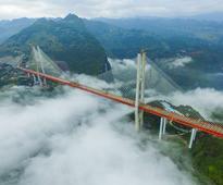Sections linked up on world's highest bridge in Southwest China