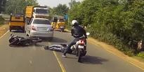 VIDEO: Watch This TVS Apache Rider's Crazy Reflexes Save His Fellow Rider's Life