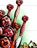 Punbus contractual workers protest for their demands