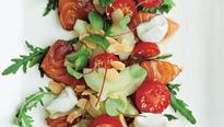 Recipe: Peter Gordon's salmon sashimi, cucumber, tomato,  ginger, almond and yoghurt salad