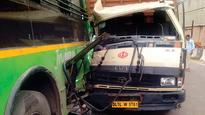 Two DTC drivers die after mini-truck rams into bus