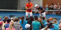 Pros hold court for young tennis lovers