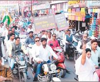 Ujjain: Jan Akrosh, Congress takes out rally to protest demonetisation
