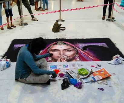 Padmavati controversy: Now, a rangoli is destroyed