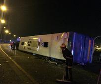 Pics: Massive bus accident on M1 near Newtown