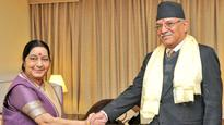 Sushma Swaraj meets Prachanda and other Nepalese leaders to discuss ways to enhance bilateral ties