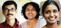Mathrubhumi staff Ranjith, Cissy, Remya bag PII-Unicef Fellowship