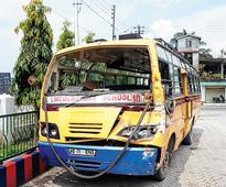 Bus with 35 kids hits truck