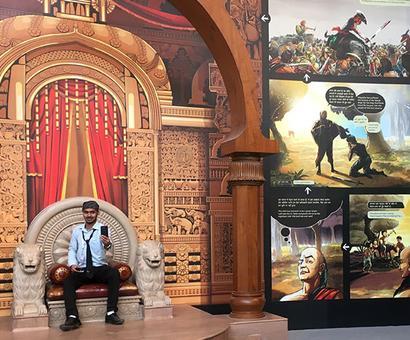 Sitting on Chandragupta Maurya's throne