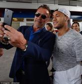 Barcelona star Neymar meets up with Arnold Schwarzenegger as the movie legend pays a visit to the Spanish giants