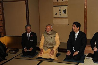 A relaxed PM Modi bonds with Abe in Japan