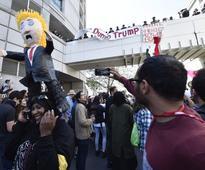 Tense protests against Trump in California