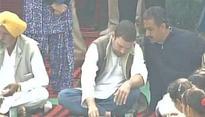 Congress vice-president Rahul Gandhi enjoys 'dal-sabzi' with Punjab villagers