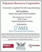 Phoenix Capital Resources(R) Assists Polymeric Resources Corporation in Completing a Successful Refinancing Through Ares Commercial Finance